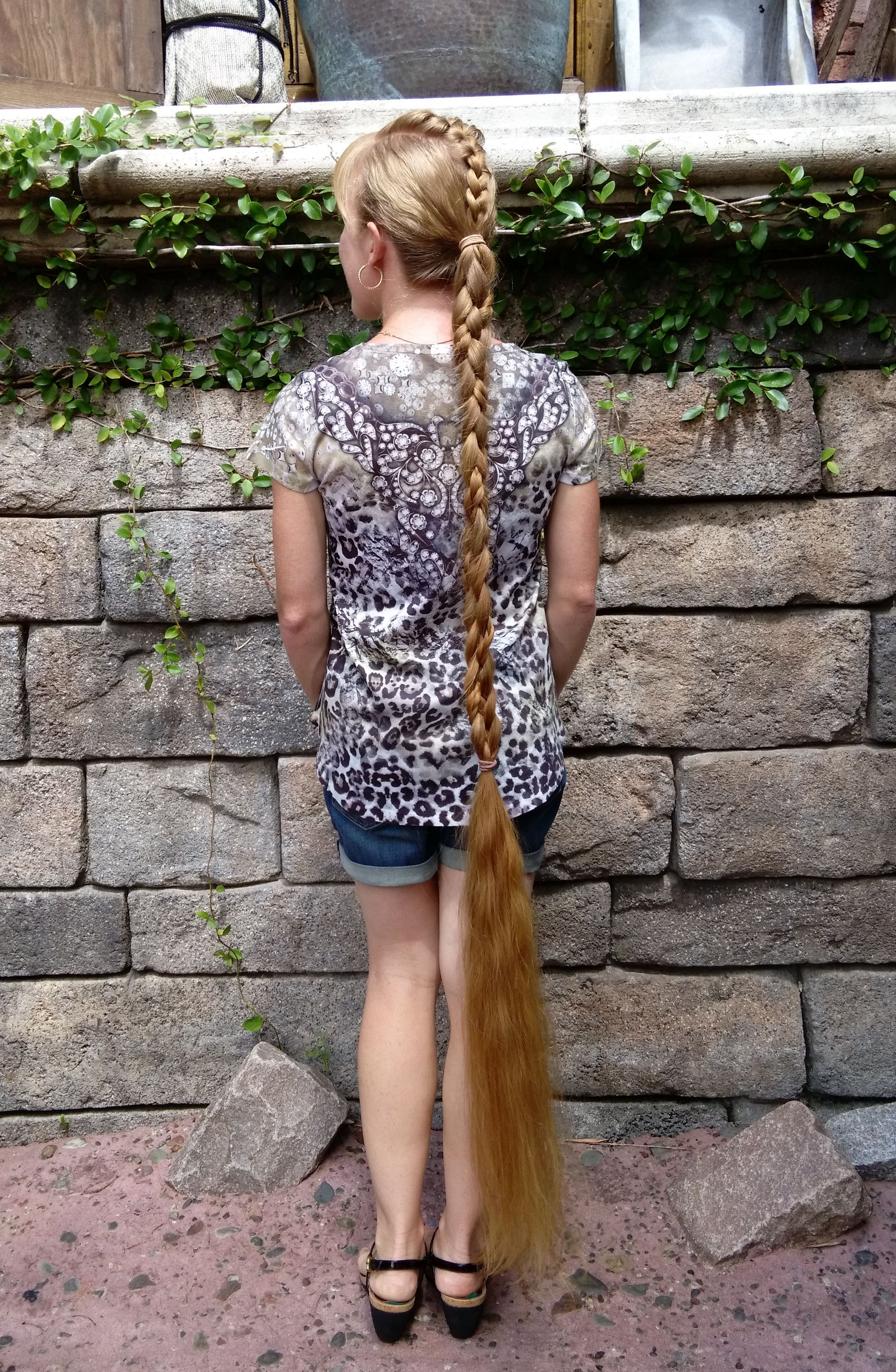 ankle length braided ponytail