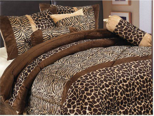 7 Piece Safari Zebra Giraffe Print Brown Micro Fur Comforter