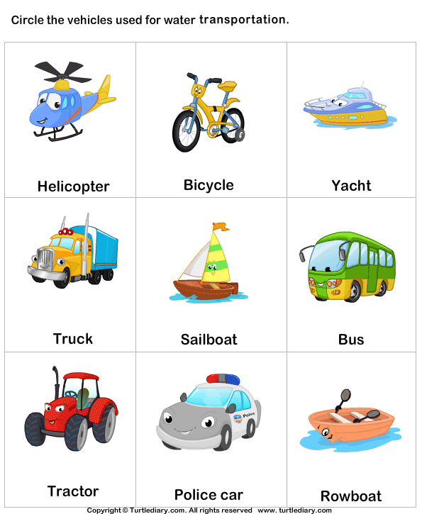 Water transport TurtleDiary logo vervoer – Water Worksheets for Kindergarten