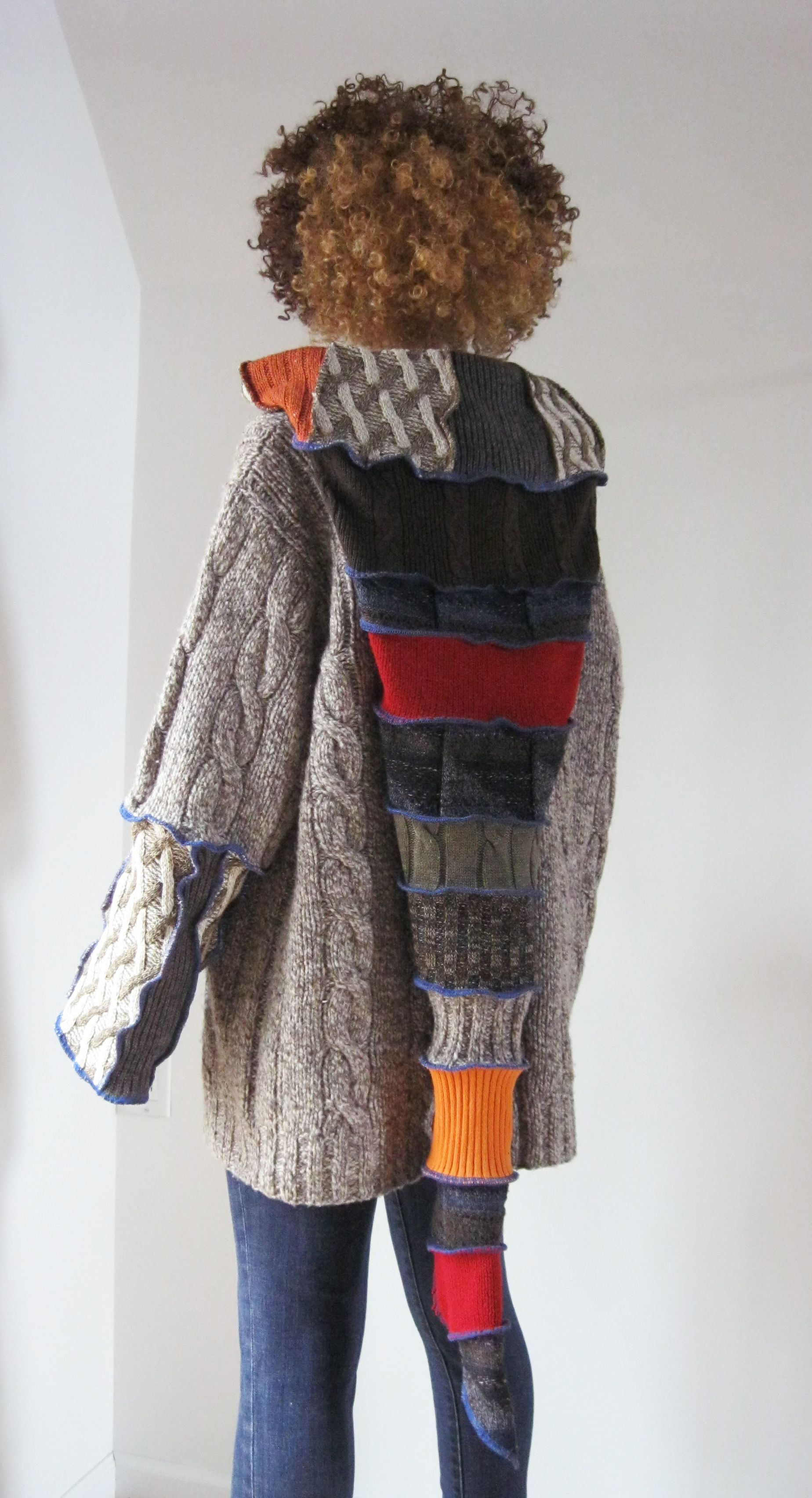 Warm sweater with a super long hood | Recycled Clothing ...