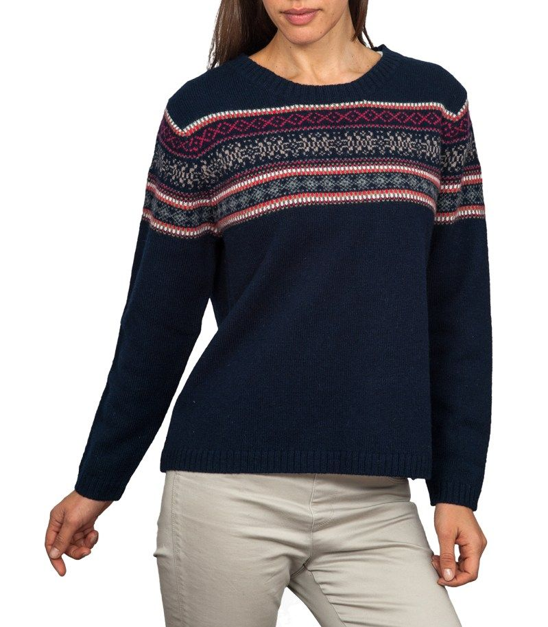 Navy Blue Ladies Fair Isle Jumper | Crew Neck | Wool Overs | Me ...