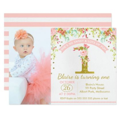 Girls Photo Floral 1st Birthday Invitation