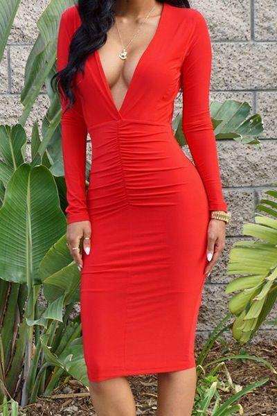 Sexy Women's Red Polyester Sheath Midi Bodycon Dress. sxytiptationsboutique.bigcartel.com