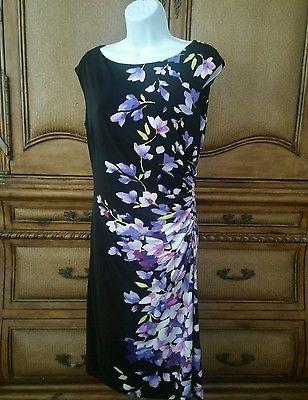 Ralph Lauren Womens Floral Print Matte Jersey Dress 8 Multi-Color Cap Sleeve New