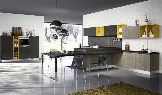 Diseño de cocina contemporánea color amarillo y gris | Modelos de ...
