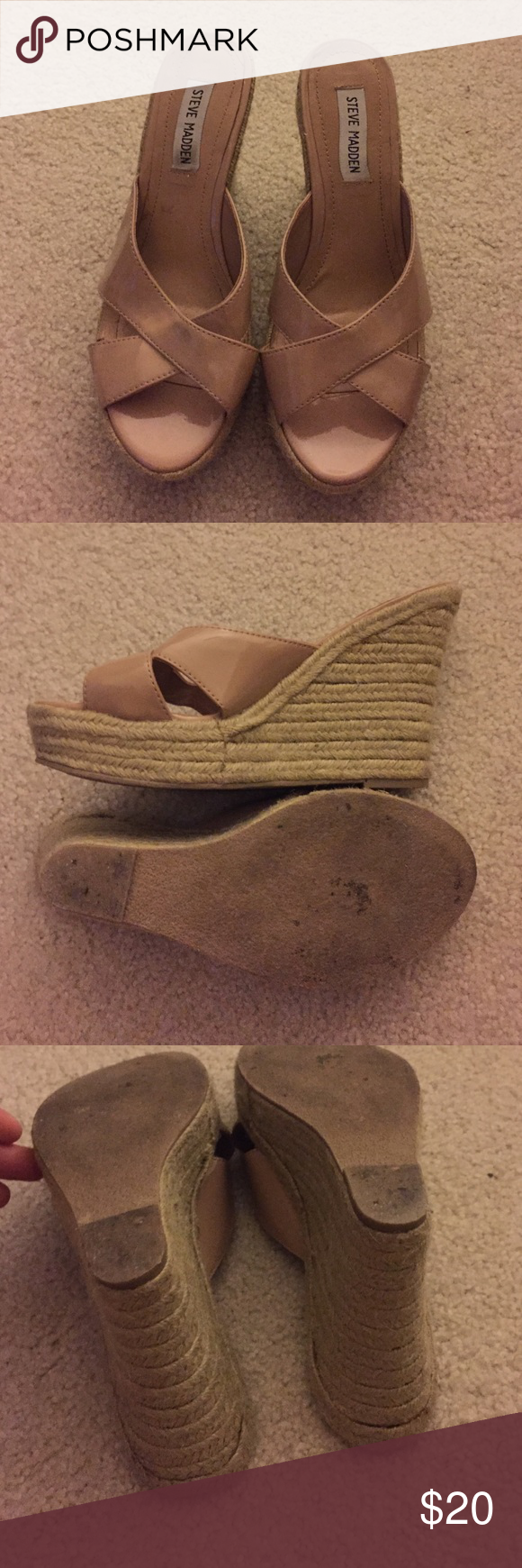 Tan wedged sandals Steve Madden tan wedged sandal, these are a size 8. Still have a lot of wear. About 4 inches high. Nine West Shoes Wedges