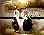 Sterling Silver Earrings- Black Agate - Rose Cut- Teardrop