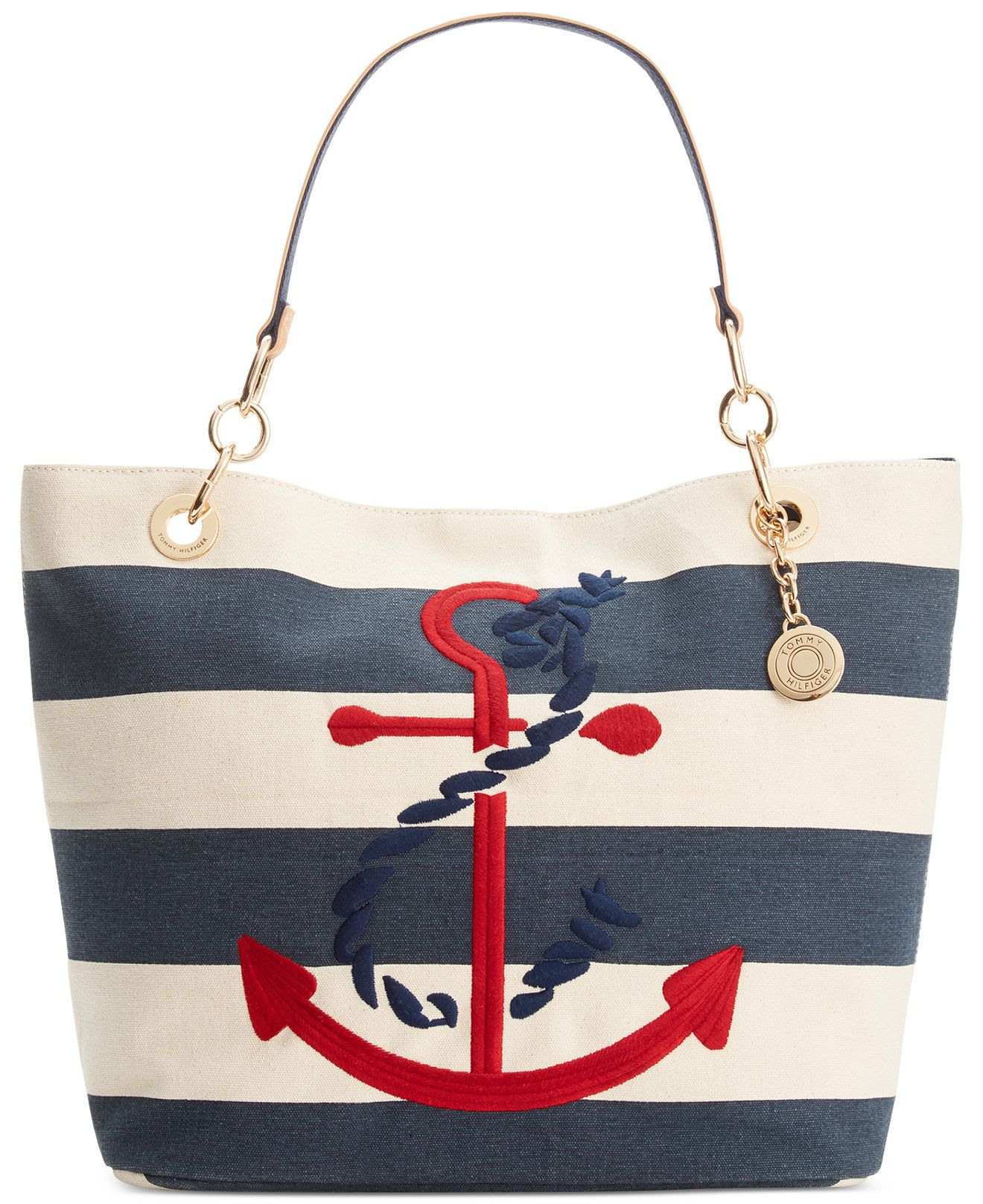 2e476208ef8 Tommy Hilfiger TH Signature Embroidered Anchor Rugby Canvas Tote - Handbags  & Accessories - Macy's
