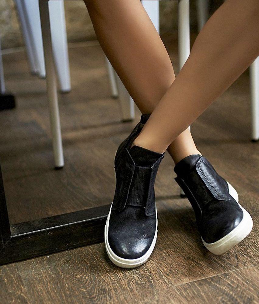 NEW Free People X Mjus black Textured Leather Hi Top Slip ...