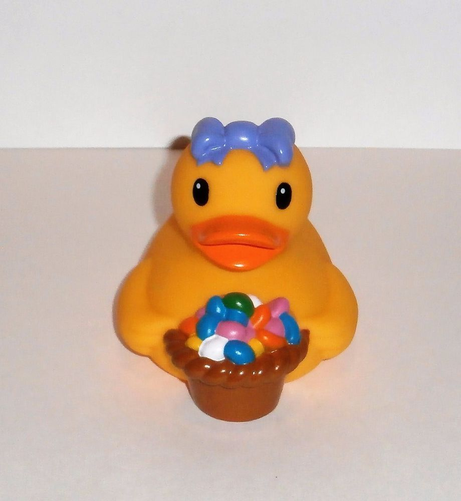Easter Basket and Eggs Rubber Duck figure by Infantino Yellow Bath ...