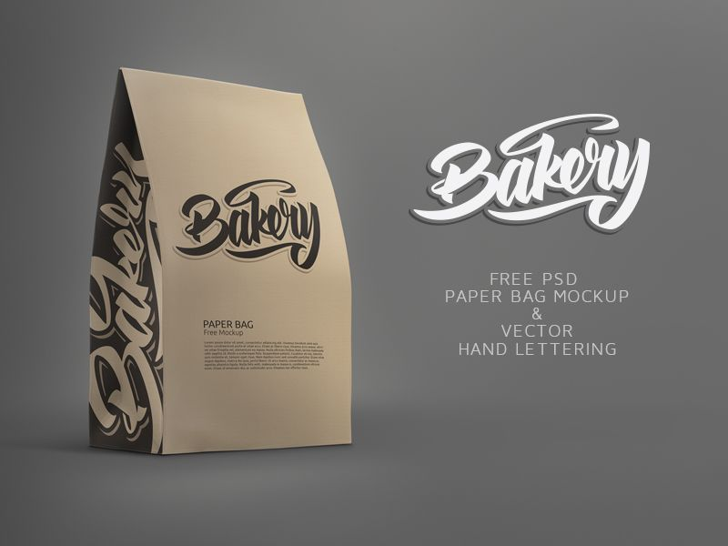Download Free Paper Bag Mockup And Free Bakery Lettering Paper Bag Bag Mockup Free Mockup