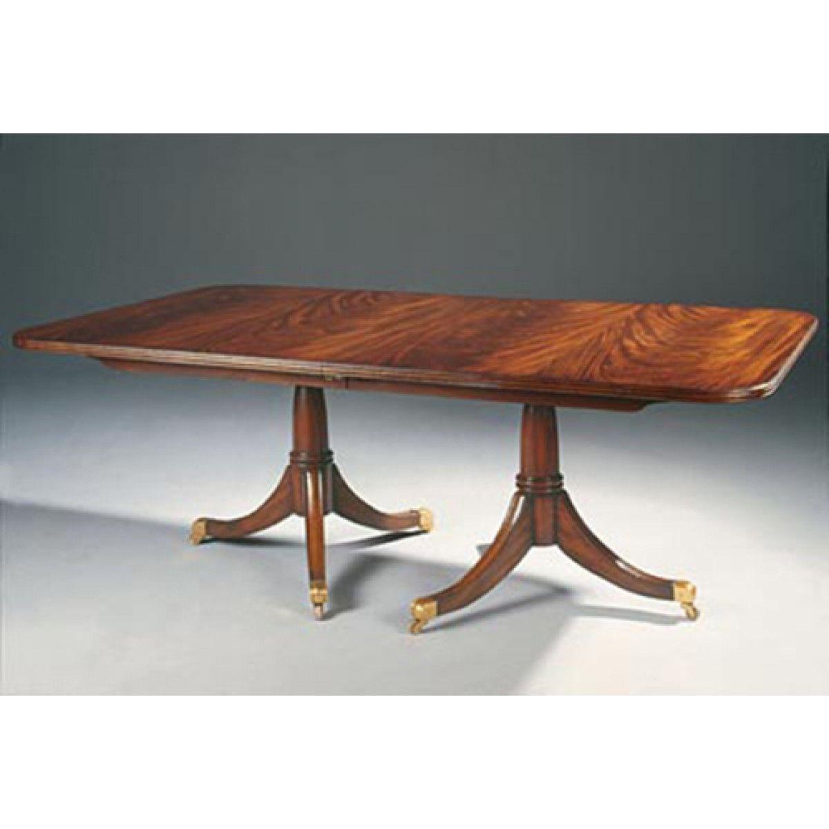 double pedestal mahogany dining room table. maitland-smith regency finished mahogany double pedestal dining table, brass casters, two 20 room table a