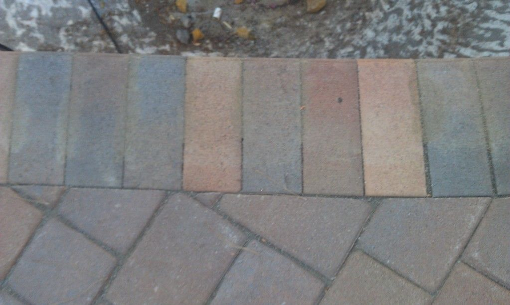 coping and pavers before cleaning and sealing. notice the