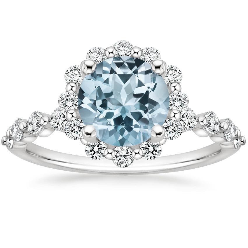 Platinum Marseille Halo Diamond Ring (1/2 ct. tw.) #aquamarineengagementring
