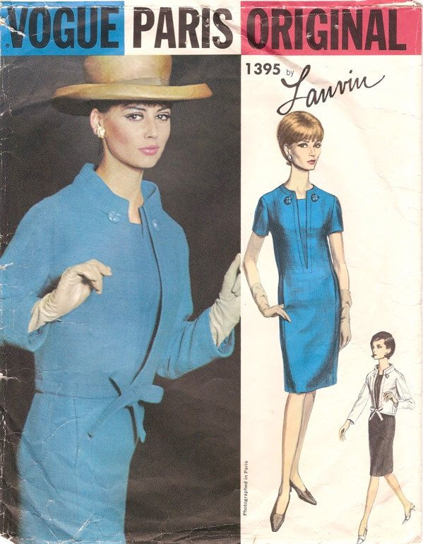 Chic Vintage 1960s Vogue Paris Original 1395 Lanvin Dress and Jacket ...