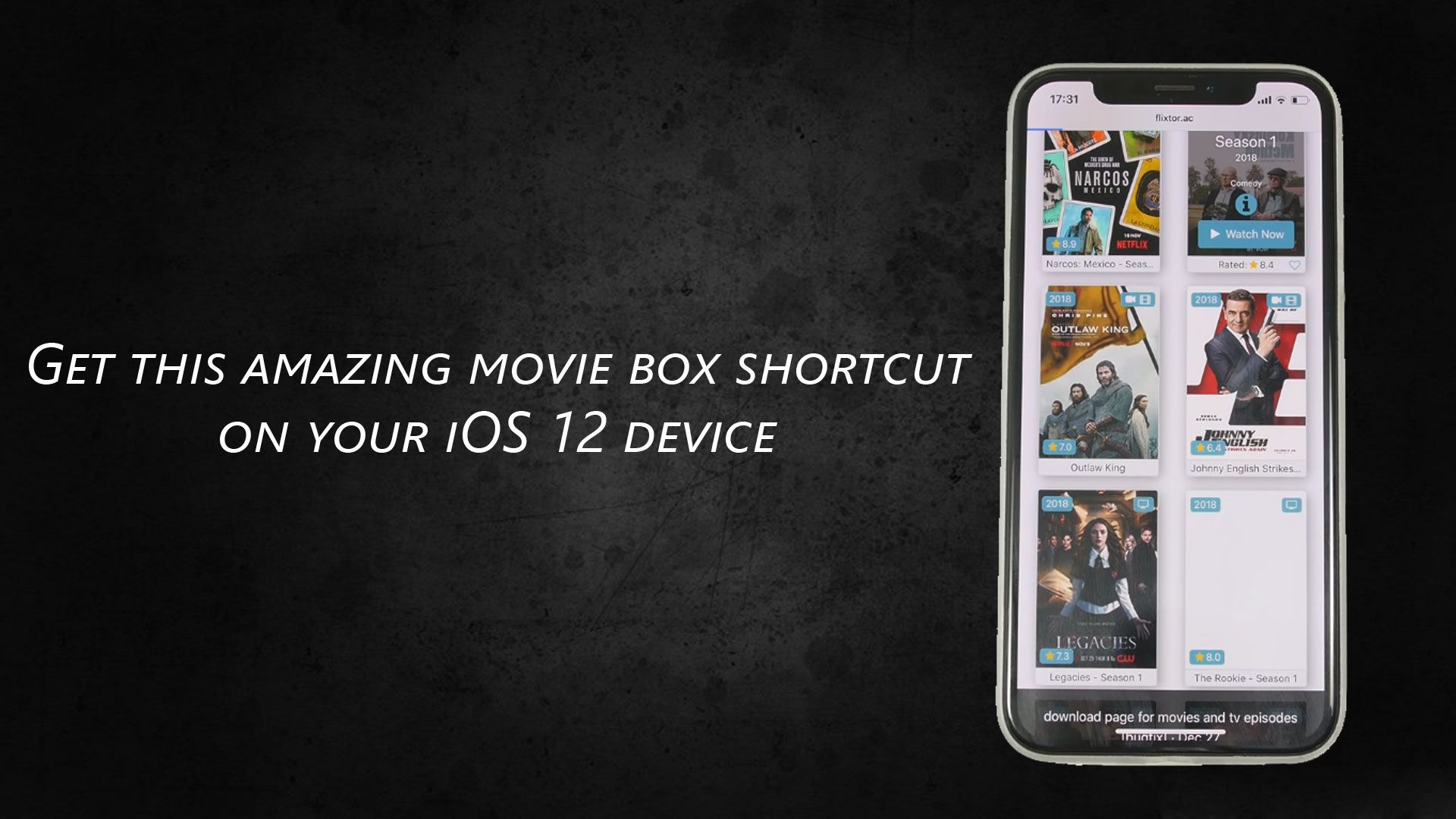 Get this free movie box app shortcut on your iOS 12 device
