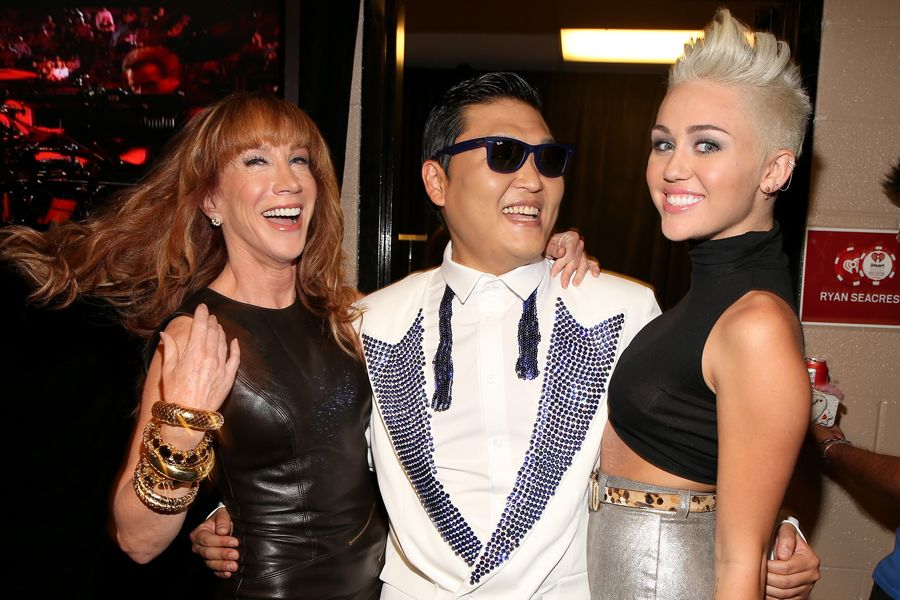 Kathy Griffin meets Psy and Miley Cyrus at the iHeartRadio Music Festival 2012