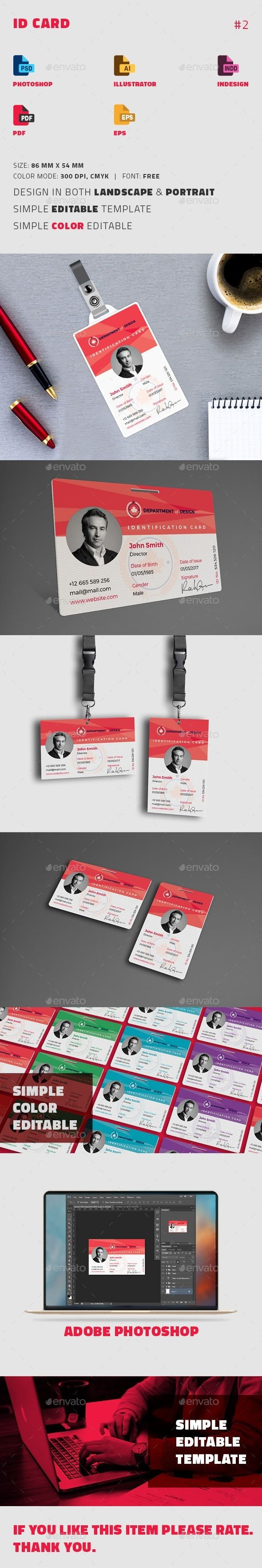 ID Card Design Template PSD, Vector EPS, InDesign INDD, AI Illustrator