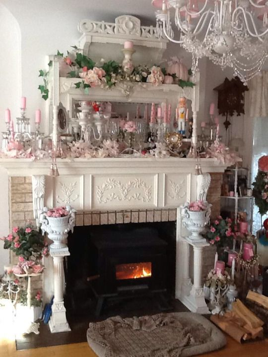White Shabby Chic Victorian 3 Tier Fireplace Mantel With Pink Decor Fairynests Shabby Chic Pink Shabby Chic Fireplace Shabby Chic Interiors