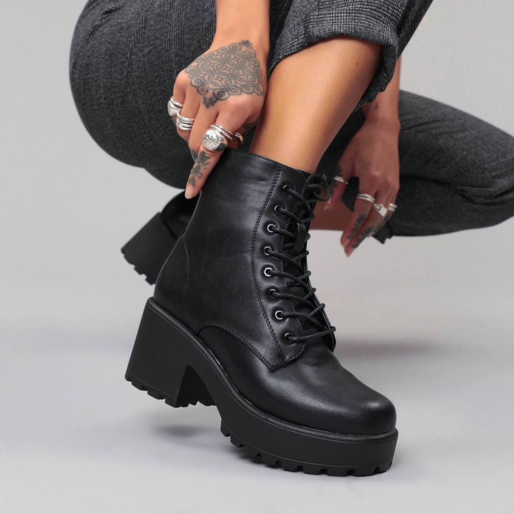9a246a3c47d GIN Platform Military Boots. Black Leather Chunky ...