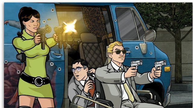 Lana, Cyril, and wheelchair-bound Ray shooting guns (ARCHER 3x04