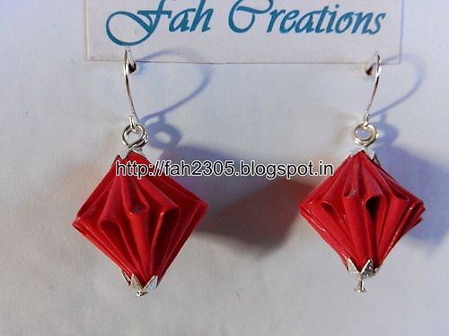 Handmade Jewelry - Origami Paper Unit Diamond Earrings (1)
