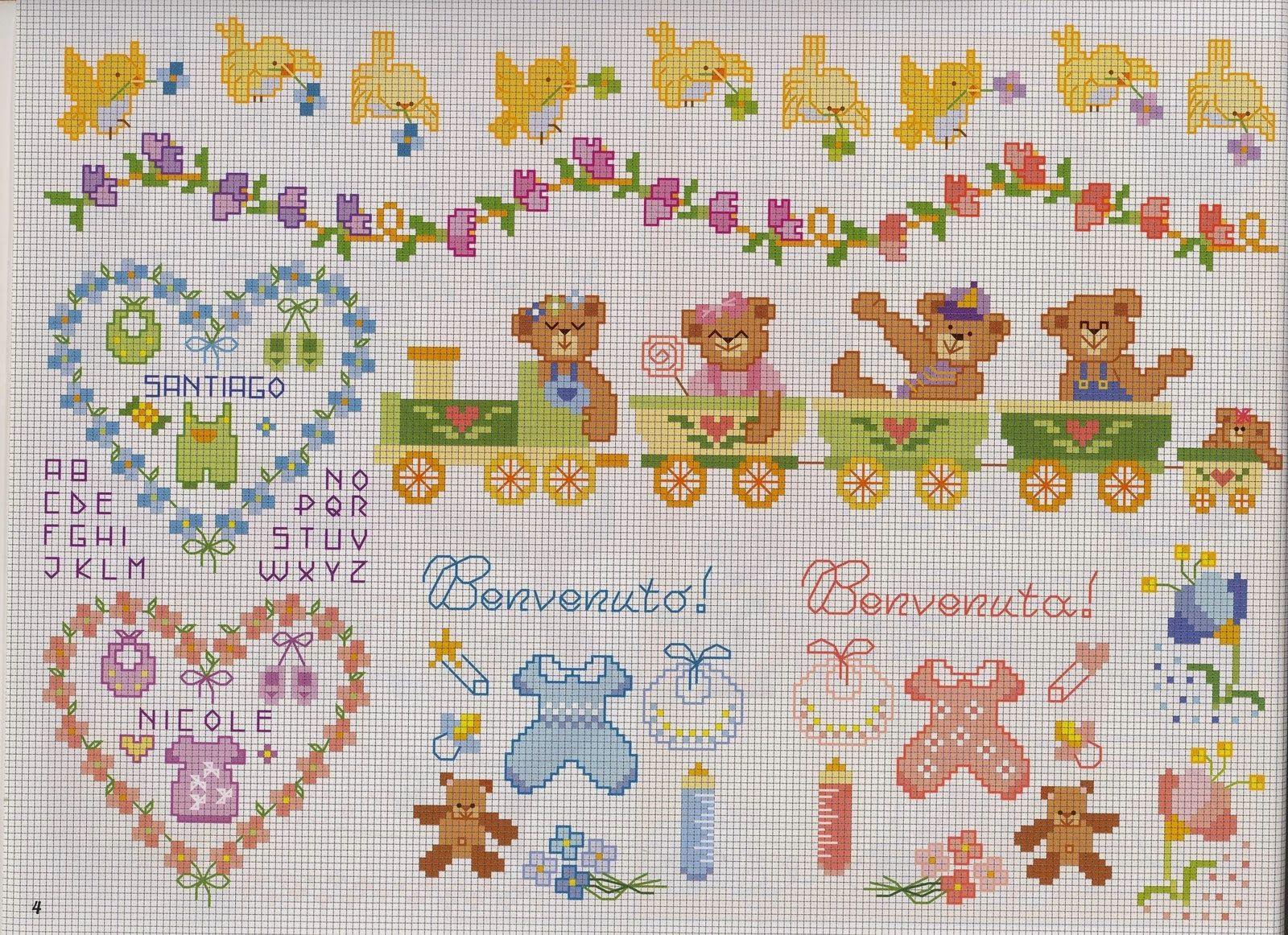 Punto croce schemi gratis e tutorial schemi punto croce for Disegni punto croce per lenzuolini neonati