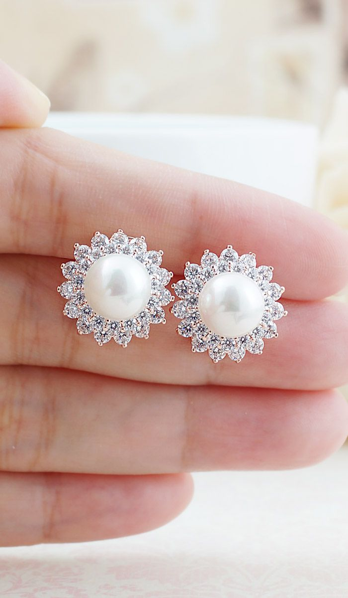 Halo Style Cubic Zirconia And Pearl Bridal Ear Stud In Rose Gold From Earringsnation Earrings Weddings Blush Pastel