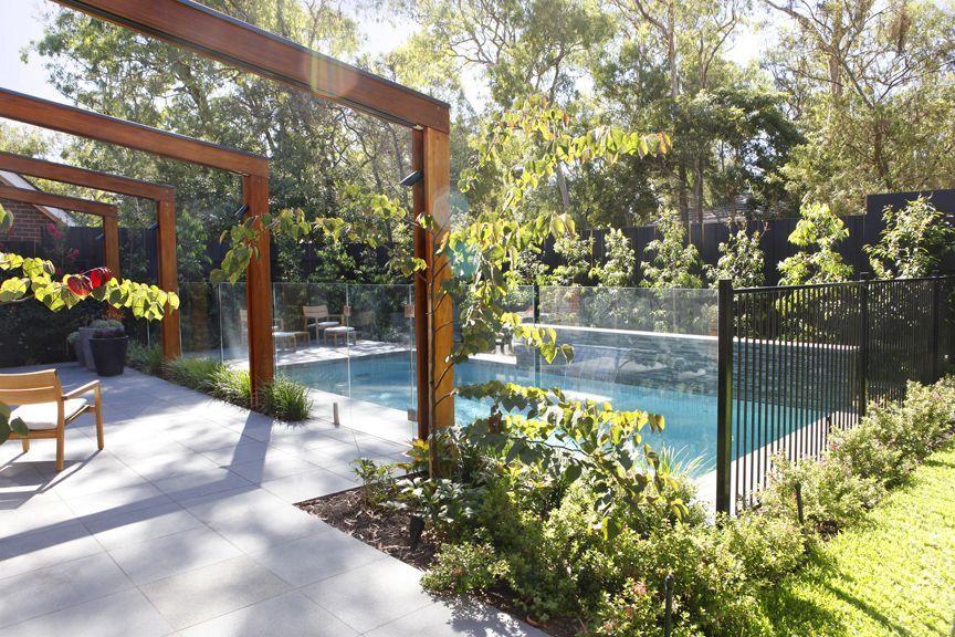 Blackburn Garden Timber Pergola By The Pool Garden Design Images Pool Landscaping Pool Shade