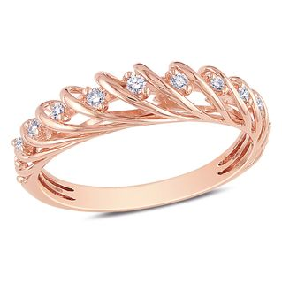 Overstock Round white diamond ring 14karat rose gold jewelry