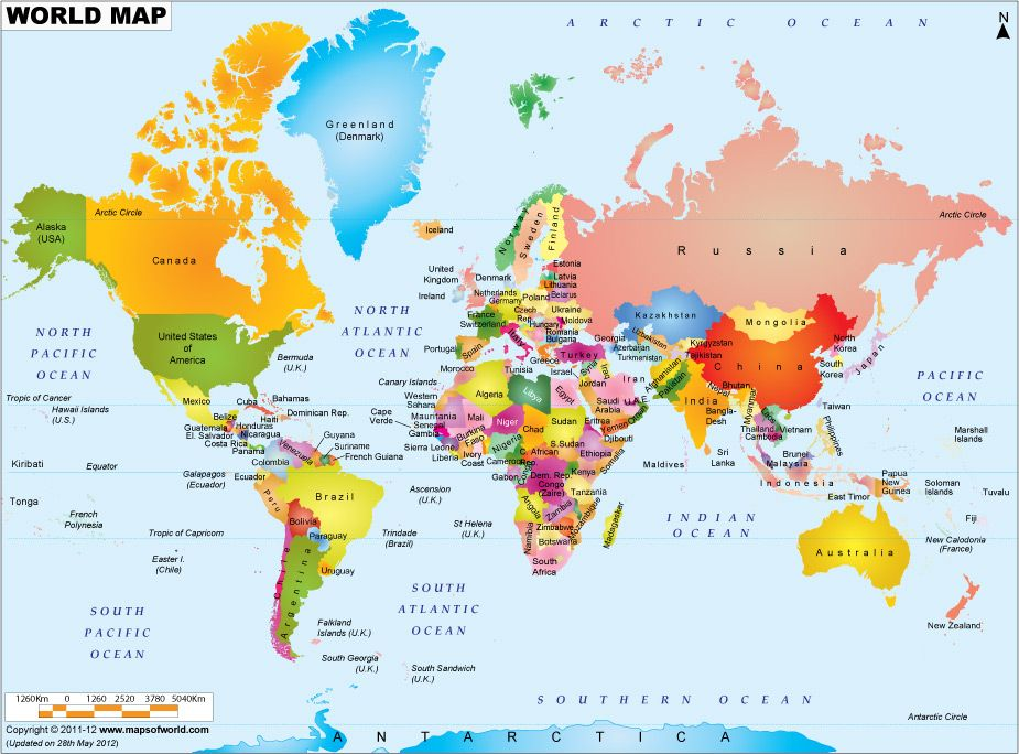 World #Map displaying various islands, oceans, continents - best of world map with brazil highlighted
