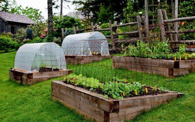 Gewächshaus Windschutz Hochbeete Holz Garten Hang Anlegen
