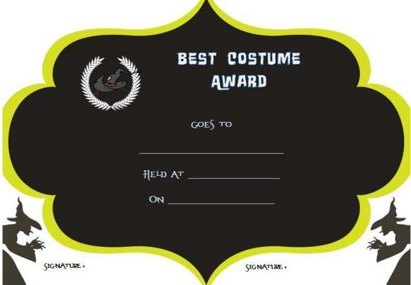 halloween costume award categories certificate halloween costume