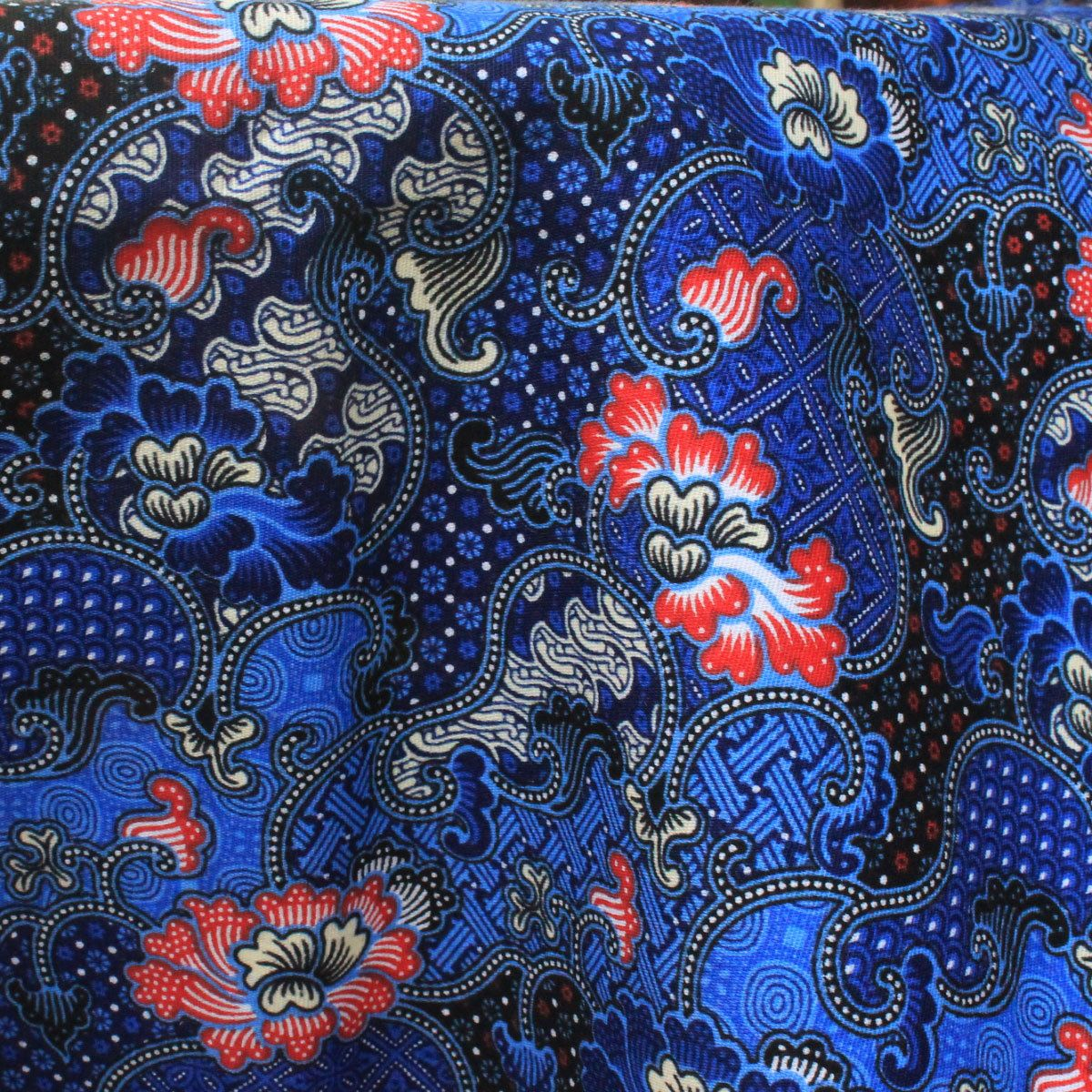 Blue Flowers Print Thai Traditional Print ,Thai Batik
