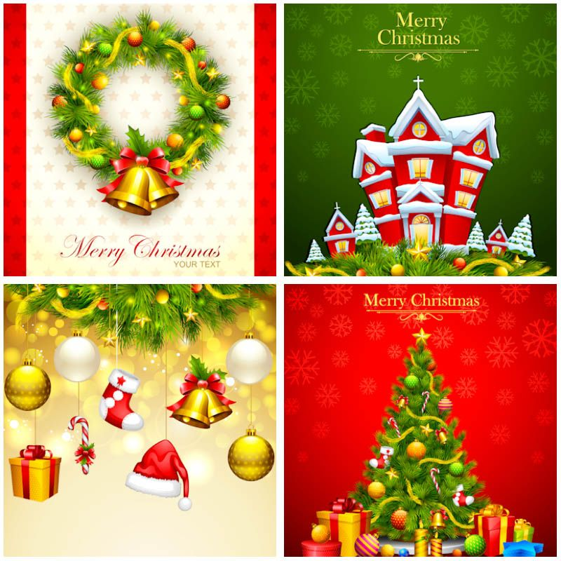 HighColored Christmas Card Templates Vector