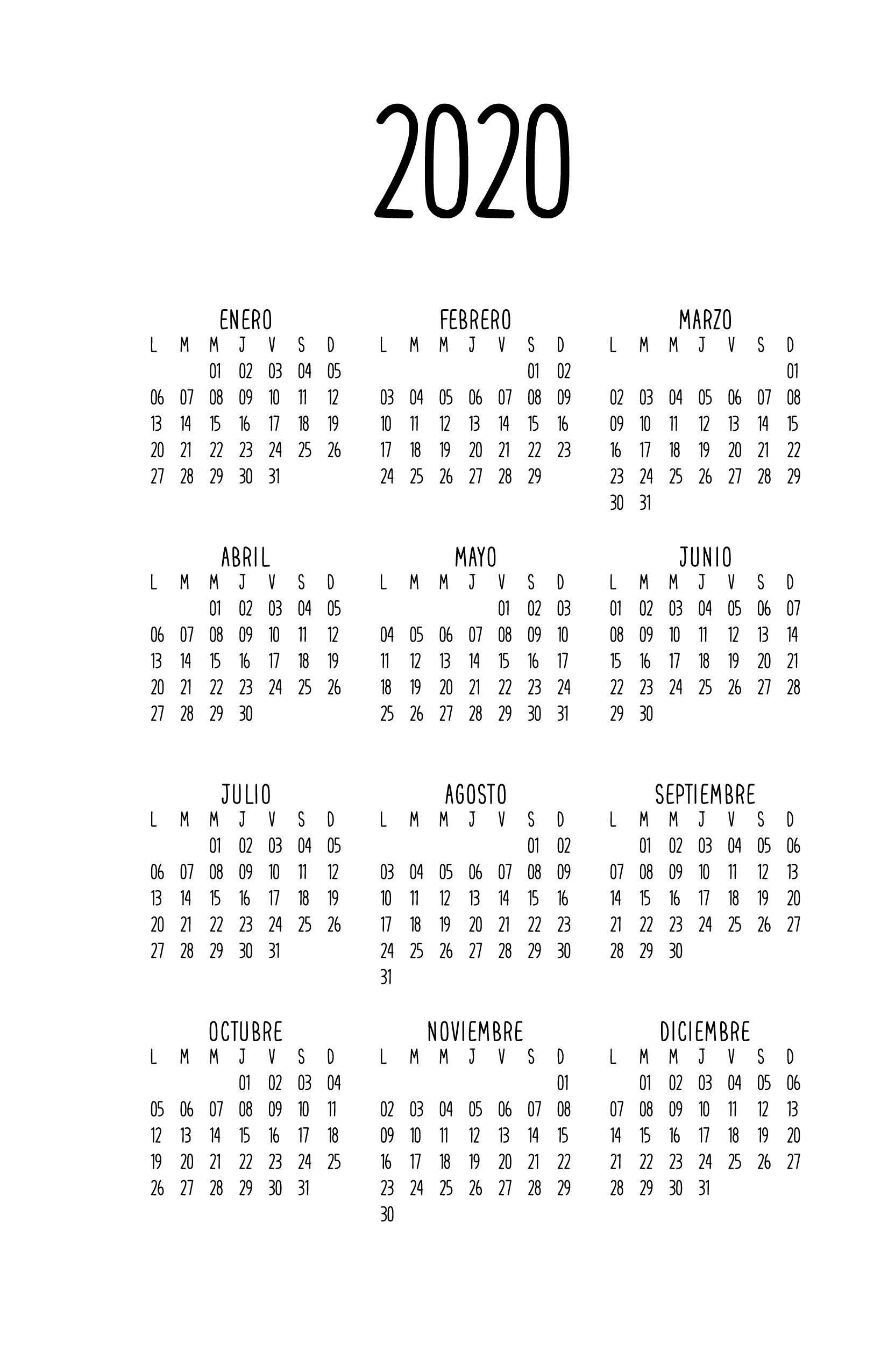 Calendario 2020.