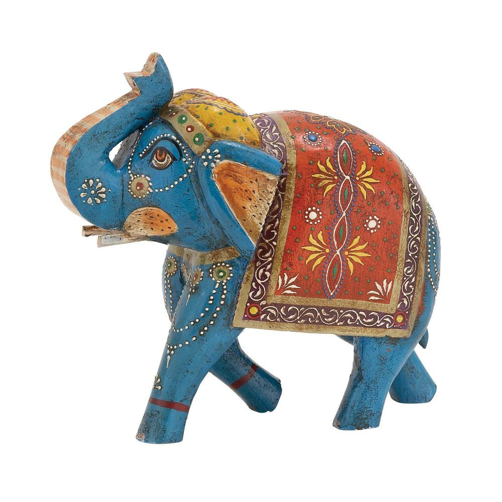 10 Colorful Hp Wood Elephant Figurine Moroccan Style Statue