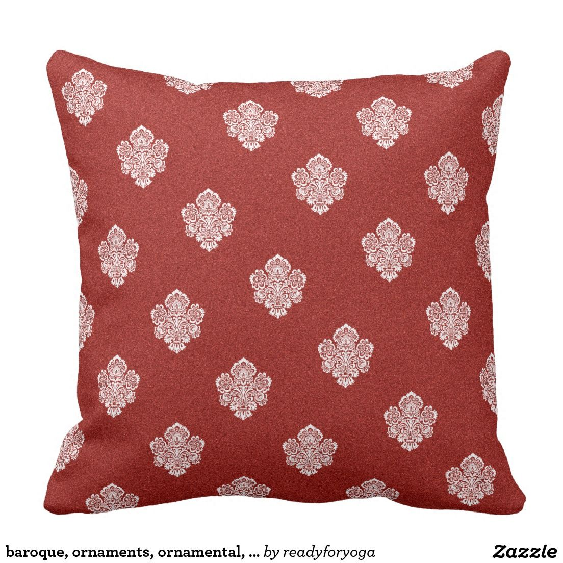 baroque, ornaments, ornamental, red, cherry, white pillow