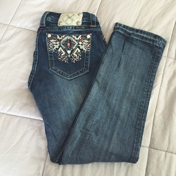 Miss Me Mid-Rise/Easy Crop Jeans Worn very few times. Comes from a smoke free home. Offers accepted!  xx Miss Me Jeans Straight Leg