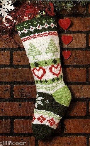 FAIR ISLE CHRISTMAS STOCKING - VINTAGE KNITTING PATTERN | eBay No ...