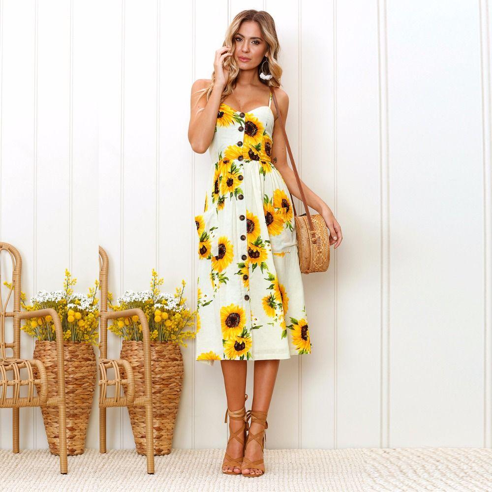 2143d0760 Precioso Vestido Bohemio Largo con Estampado de Girasoles. Super bonito  para el verano de este 2018 y totalmente a la moda y tendencia actual de  vestidos.