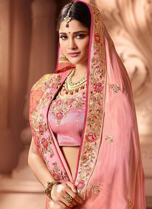 Photo of Pink Overall Traditional Zari Embroidered Designer Silk Saree
