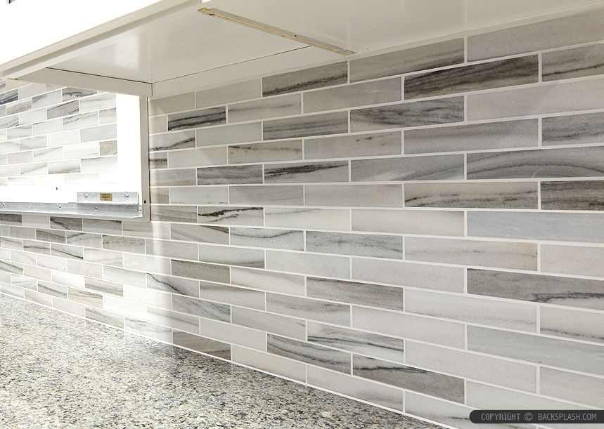 Gray white some brown tones modern subway kitchen backsplash tile ...