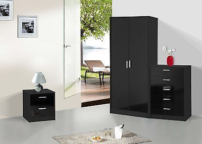 Details about NEW High Gloss 3 Piece Bedroom Furniture Set ...