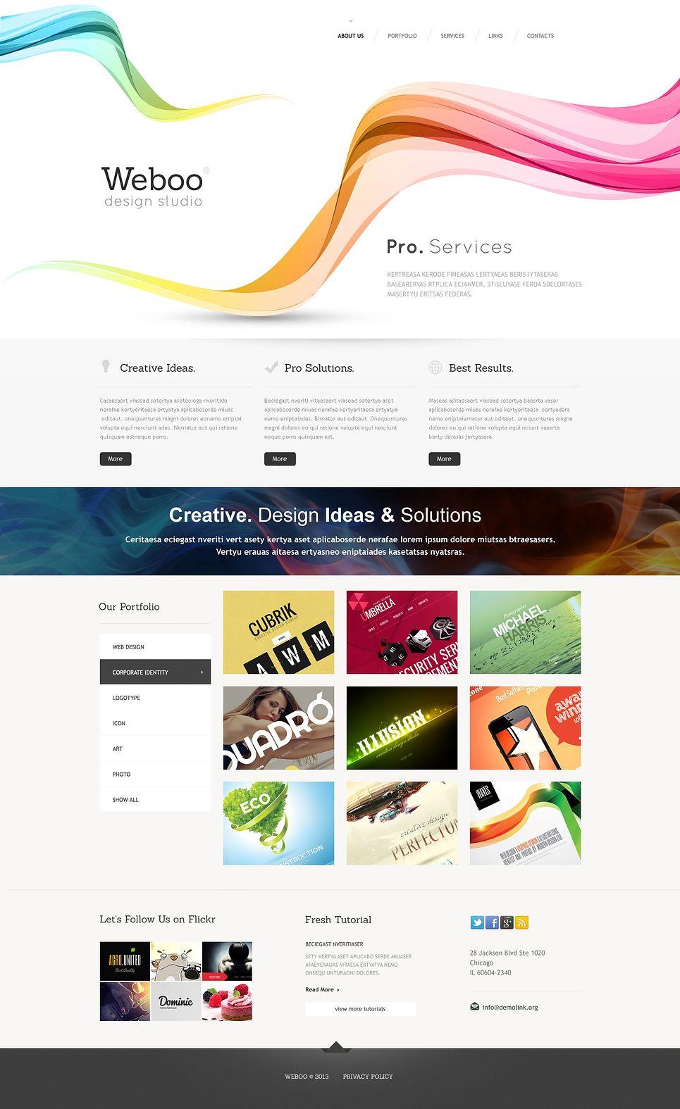 Design Studio Responsive Website Template 46444 Website Template Responsive Website Template Website Design Inspiration