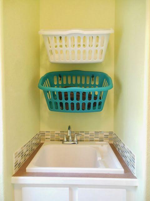 Diy Hang Laundry Baskets On Hooks Laundry Basket Laundry