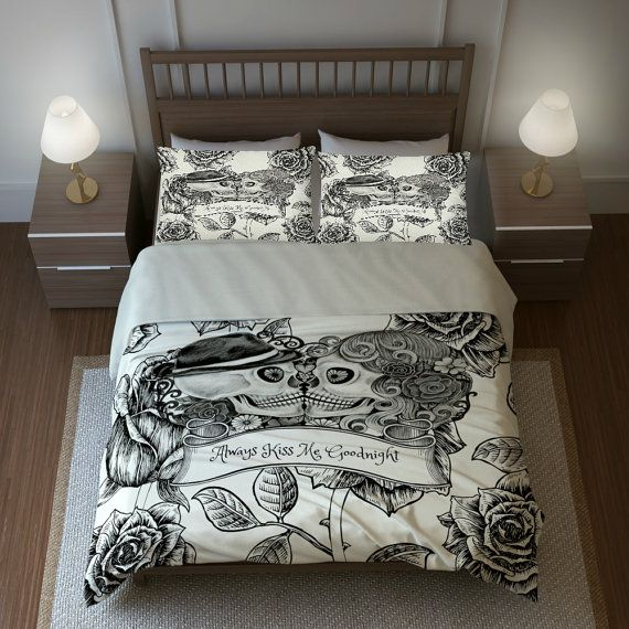 skull bedding sugar skulls duvet cover comforter by. Black Bedroom Furniture Sets. Home Design Ideas