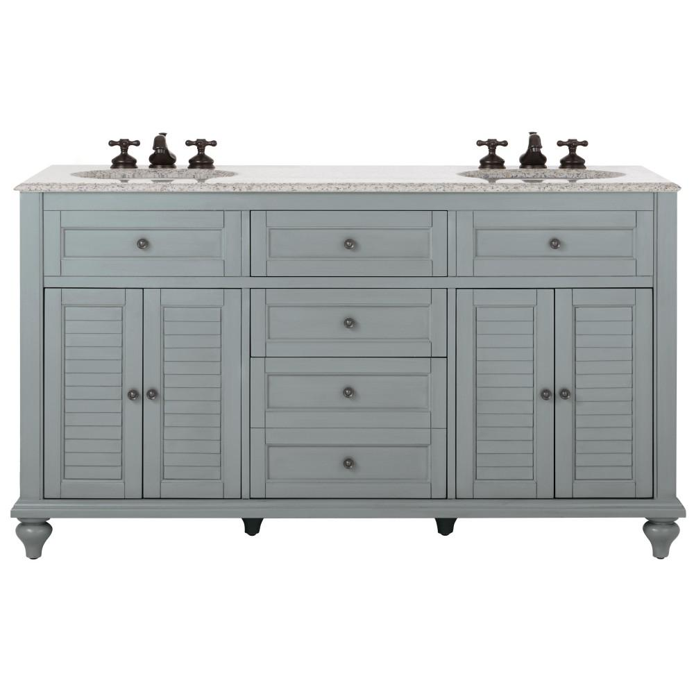 Home Decorators Collection Hamilton 61 In W X 22 In D Double Bath Vanity In Grey With Granite Vanity Top In Grey With White Sink 10806 Vs61h Gr With Images Granite Vanity Tops Marble