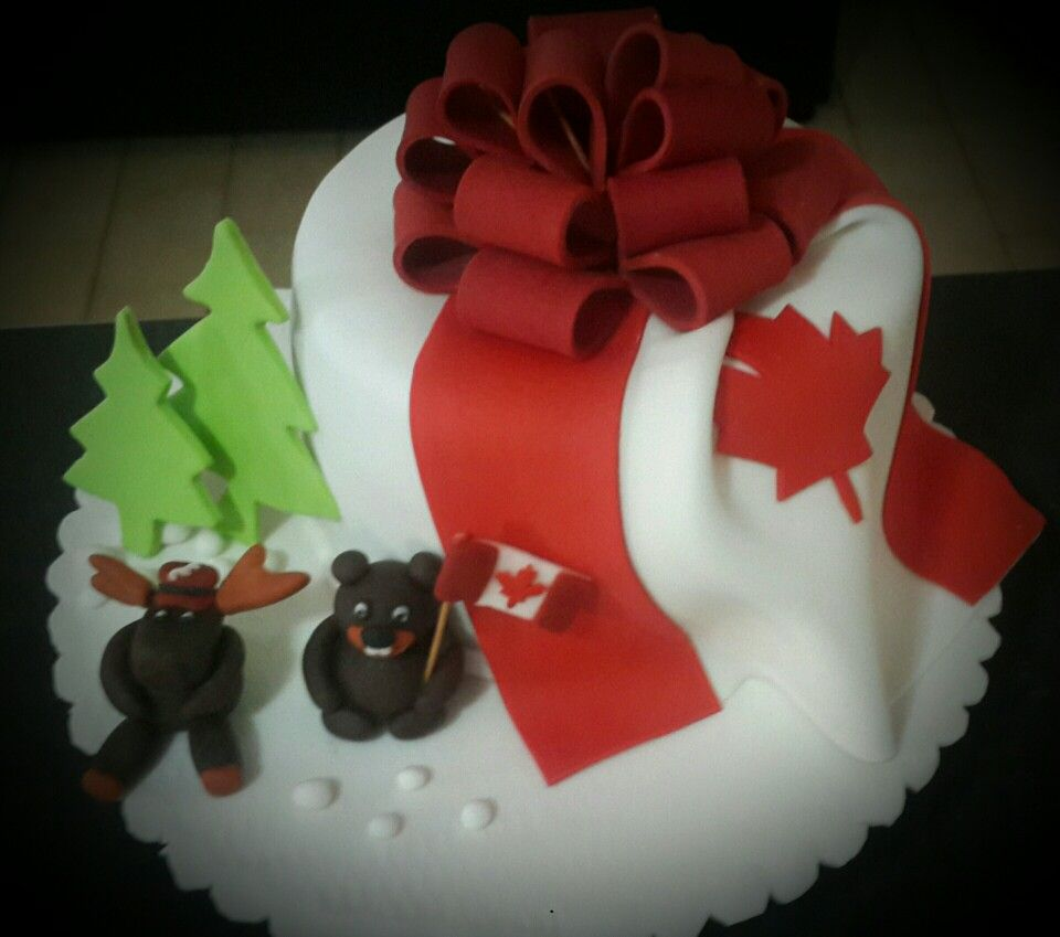 Torta motivo bandera de Canadá | Fondant | Pinterest | Bandera de ...