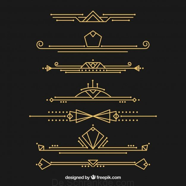 Dividers Collection In Art Deco Style Free Vector Art Deco Font Art Deco Pattern Art Deco Fashion